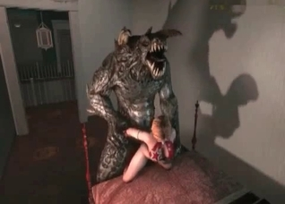 Seductive victim savagely raped by a 3D beast