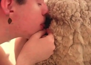 Bestiality banging with a hairy dog cock